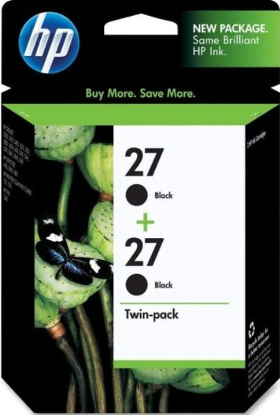 HP Hewlett Packard C9322FN140 Model No 27 Twinpack Black Ink Cartridge Print Consumable Type Jet Printing Technology Color