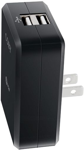 "Coby CA81 Dual USB Power Adapter, Black, Power or charge two USB devices simultaneously, Compatible with USB-powered devices such as iPod, MP3 players, cellular phones, PDAs and more; Fold-away plug for protected portability, Compact and lightweight design, Input AC 100-240V 50/60Hz, Output DC 5V 1A, Dimensions 1.98"" x 2.77"" x 1.02"", UPC 716829850817 (CA-81 CA 81 CA81BLK CA81-BLK)"