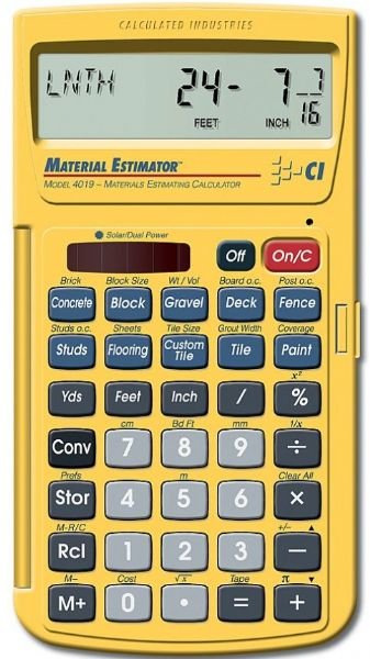 Calculated industries 4019 materials estimator calculator Building materials cost calculator