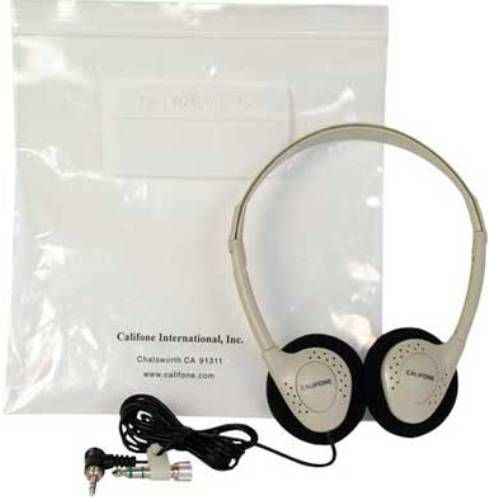 Califone CA-2 Individual Storage Stereo Headphones, Impedance 32 Ohm +/- 15% each side, Frequency Response 20-20000Hz, Sound Pressure Level 95db +/- 3db, Power Capacity 20 milliwatts, Distortion less than 5%, Right/Left Output Difference 3db, Minimizes the spread of communicable disease from the use of common items, UPC 610356504000 (CALIFONECA2 CALIFONE-CA2 CA2 CA 2)