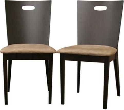 Wholesale Interiors CB-2712YBH-DW10 Lamar Dark Brown Modern Dining Chair, Contemporary dining chair, Cut out handle for easy repositioning, Solid wood construction, Dark brown / wenge wood veneer finish, Foam seat cushioning, Tan microfiber seats, Sold as a set of 2 chairs, 19.2