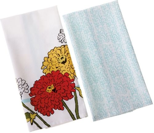 CBK Style 109867 Zinnia & Vine Tea Towels, Set of 4, UPC 738449320600 (109867 CBK109867 CBK-109867 CBK 109867)