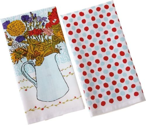 CBK Style 109869 Floral Bouquet & Dot Tea Towels, Floral Bouquet & Dot Tea Towels, Set of 4, UPC 738449320631 (109869 CBK109869 CBK-109869 CBK 109869)