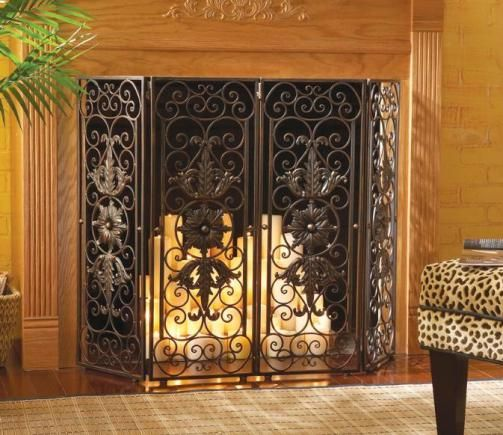 Cbk Styles 37002 Casa Cristina Collection Four Panel Fireplace Screen Medallion Accents Scroll