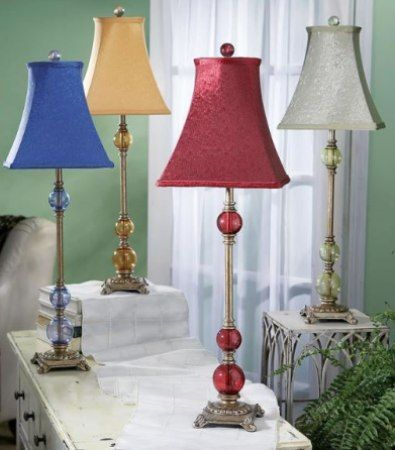 CBK Styles 54912 Set of 4 Assorted 3-Glass Ball Buffet Lamps (Blue ...