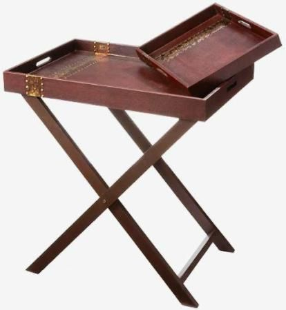 Beautiful CBK Styles 65505 Set 3 Pieces Tray Table With Stand, Hammered Metal  Accents, Mahogany
