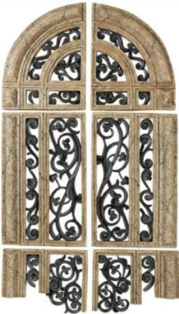 Cbk Styles 65581 Set 6 Piece Wall Decor In Fragmented Arched Window Style Combination Of Antique Stone And Rust Finish Polystone Construction