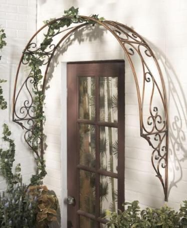 CBK Styles 74365 Trellis Over Door Arch Style, Scroll Design, Antique Brown  Finish,