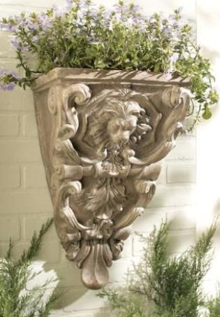 CBK Styles 74471 Lion s Head Wall Sconce-Style Planter with Carved Design, Aged Granite Finish ...