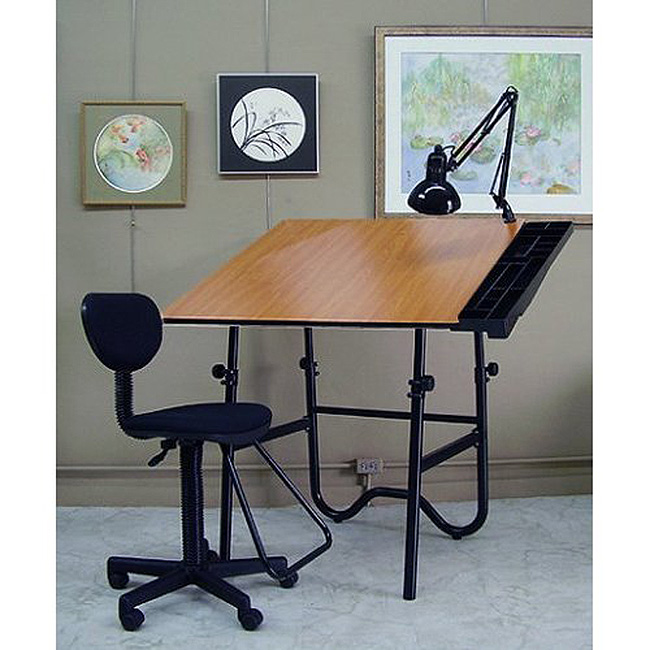 Alvin CC2005EBWR Onyx Creative Center Drafting Chair, Drafting Lamp,  Drafting Table, Black Base Made From 1 1/2 In. Tubular Steel, 30 X 42 In.  Durable, Wood ...
