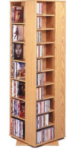 Leslie Dame CD1040 Spinning Hand Crafted CD, DVD, Video Revolving Storage  Tower, Oak Cabinet With Oak Trim, Holds 1040 CDs, 600 Audiocassettes, ...
