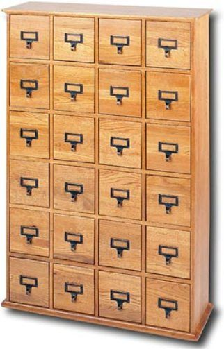 Leslie Dame CD 456 Multimedia Storage Library Style, Solid Oak Finish,  Holds Up To 456 CDs Or 192 DVDs Or 96 VHS Tapes; 24 Drawer CD Cabinet  Finished With ...