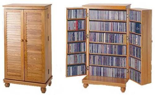Leslie Dame CD 612V Louvered Door Mission Style Multi Media Storage Cabinet,  Oak Finish, Holds 612 CDs, 298 DVDs, 148 Videos Tapes, Adjustable Shelves  ...