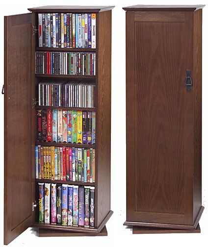 Charming Leslie Dame CDR 500W Revolving Multimedia Cabinet With Doors, Walnut, 2  Sided; Up To 500 CDsm ...