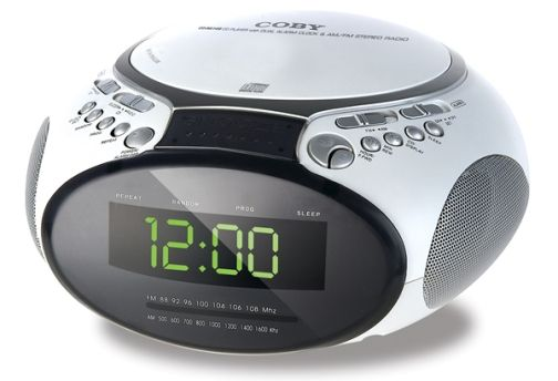 coby cd ra145 digital am fm dual alarm clock radio with cd player top loading cd player with. Black Bedroom Furniture Sets. Home Design Ideas