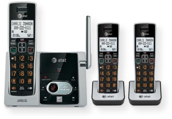 AT&T CL82313 3 handset cordless answering system with caller ID and Call waiting; Big buttons; Caller ID and call waiting; 50 name and number caller ID history; Expandable up to 12 handsets; ECO mode power conserving technology; Quiet mode; DECT 6.0 digital technology; UPC 650530026218 (CL82313 CL-82313 ATTCL82313 AT&TCL82313 AT-T-CL82313 AT-T-CL-82313)