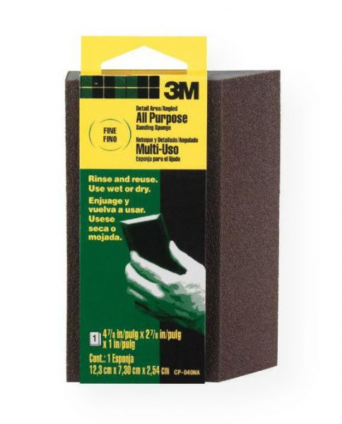 3M CP040NA Angled Fine Grit Sanding Sponge; The angled edge is designed to sand corners without effecting adjacent wall or textured ceilings; Ideal for sanding wood, paint, metal, plastic, and drywall; May be rinsed and reused; Use dry or wet; Overall size: 4.875