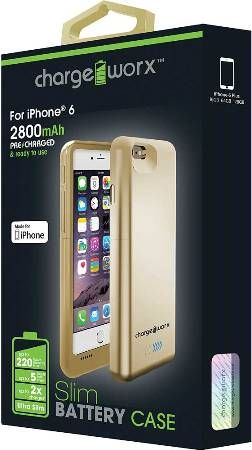 new styles 9658a 5e50a Chargeworx CX7002GD Slim Battery Case, Gold For use with iPhone 6 ...