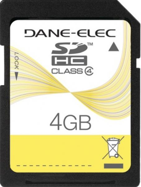 Dane-Elec DA-SD-4096-R Flash memory card, 4 GB Storage Capacity, 37x/120x : 18 MB/s read 5.5 MB/s write Speed Rating, Class 4 SD Speed Class, SDHC Memory Card Form Factor, 2.7 - 3.6 V Supply Voltage, Write protection switch Features, 1 x SDHC Memory Card Compatible Slots, UPC 0804272719680 (DASD4096R DA-SD-4096-R DA SD 4096 R)