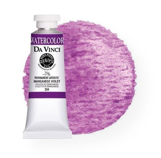 Da Vinci DAV254 Artists' Watercolor Paint 37ml Manganese Violet; All Da Vinci watercolors have been reformulated with improved rewetting properties and are now the most pigmented watercolor in the world; Expect high tinting strength, maximum light-fastness, very vibrant colors, and an unbelievable value; Transparency rating: T=transparent, ST=semitransparent, O=opaque, SO=semi-opaque; UPC 643822254376 (DA-VINCI-254 DAVINCI254 PAINTING)