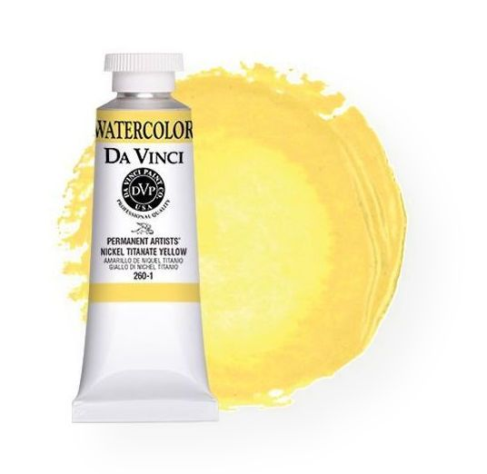 Da Vinci DAV260-1 Artists' Watercolor Paint 37ml Nickel Titanate Yellow; All Da Vinci watercolors have been reformulated with improved rewetting properties and are now the most pigmented watercolor in the world; Expect high tinting strength, maximum light-fastness, very vibrant colors, and an unbelievable value; Transparency rating: T=transparent, ST=semitransparent, O=opaque, SO=semi-opaque; Sold per unit; UPC 643822260131 (DAV2601 DA-VINCI-260-1 DAVINCI2601 PAINTING)