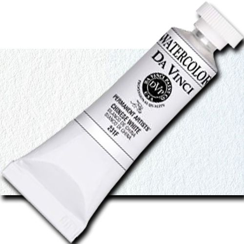 Da Vinci 231F Watercolor Paint, 15ml, Chinese White; All Da Vinci watercolors have been reformulated with improved rewetting properties and are now the most pigmented watercolor in the world; Expect high tinting strength, maximum light-fastness, very vibrant colors, and an unbelievable value; Sold by the each; UPC 643822231155 (DAVINCI231F DA VINCI 231F WATERCOLOR 15ml CHINESE WHITE)