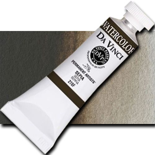 Da Vinci 278F Watercolor Paint, 15ml, Sepia; All Da Vinci watercolors have been reformulated with improved rewetting properties and are now the most pigmented watercolor in the world; Expect high tinting strength, maximum light-fastness, very vibrant colors, and an unbelievable value; Sold by the each; UPC 643822278150 (DAVINCI278F DA VINCI 278F WATERCOLOR 15ml SEPIA)