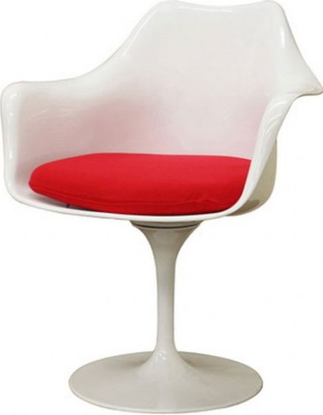 Wholesale Interiors DC 221 Cyma White Plastic Mid Century Arm Chair With  Red Fabric Cushion, Contemporary Accent Chair Or Dining Chair, Mid Century  Chair ...
