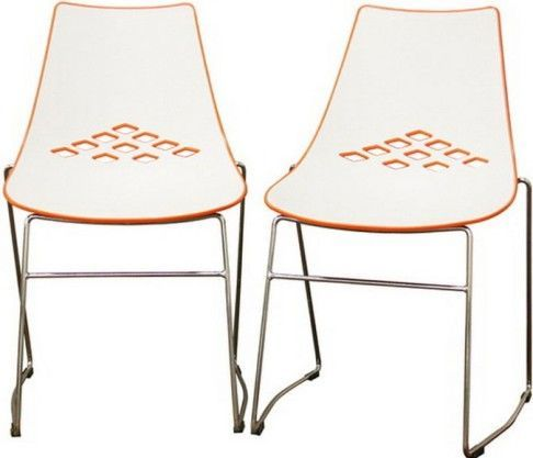 Stacking Chairs As Easy To Store Chairs To Consider Using : ... chair white and orange diamond cut outs on give the chair a trendy