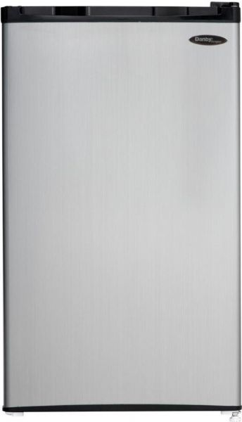 Danby DCR032C1BSLDD Compact Refrigerator with Full Width Freezer Section, 3.2 cu.ft capacity compact refrigerator, Wire Type of Shelves, 1 No. of Shelves, 3 No. of Door Bins, Integrated door handle, Reversible door hinge, Smooth back design, Manual defrost, Full width freezer section, Energy Star compliant, CanStor beverage dispensing system, UPC 067638999298, Steel Finish Finish, Black Cabinet Color (DCR032C1BSLDD DCR-032C1-BSLDD DCR 032C1 BSLDD)