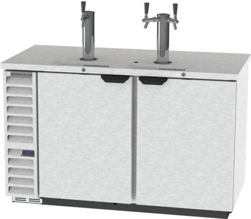 Beverage Air DD58HC-1-S 1 Single and 1 Double Tap Kegerator Beer Dispenser - Stainless Steel, 23.8 cu. ft. Capacity, 7.4 Amps, 60 Hertz, 1 Phase, 115 Voltage, Swing Door Style, 1/3 HP Horsepower, 2 Number of Doors, 3 Number of Kegs, 3 Taps, 1/2 Barrel Style, Standard Nominal Depth, 3