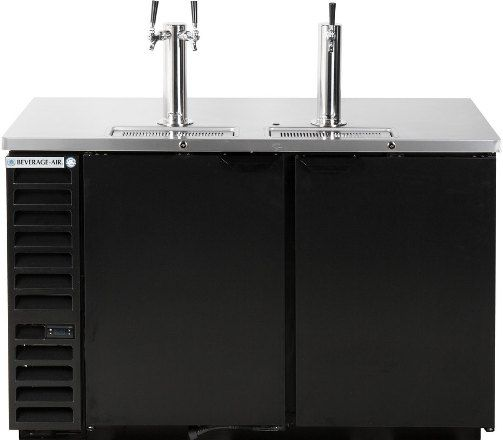 Beverage Air DD58HC-1-B 1 Single and 1 Double Tap Kegerator Beer Dispenser - Black, 23.8 cu. ft. Capacity, 7.4 Amps, 60 Hertz, 1 Phase, 115 Voltage, Swing Door Style, 1/3 HP Horsepower, 2 Number of Doors, 3 Number of Kegs, 3 Taps, 1/2 Barrel Style, Standard Nominal Depth, 3