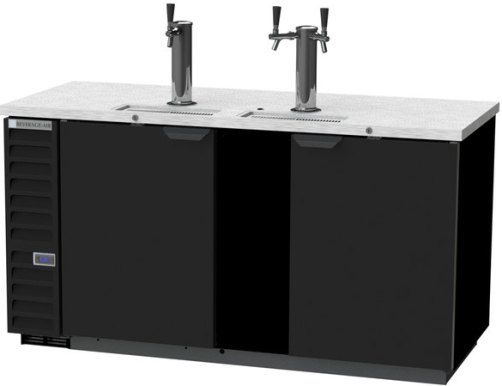Beverage Air DD68HC-1-B 1 Single and 1 Double Tap Kegerator Beer Dispenser - Black, 28.4 cu. ft.. Capacity, 7.4 Amps, 60 Hertz, 1 Phase, 115 Voltage, Swing Door Style, 1/3 HP Horsepower, 2 Number of Doors, 3 Number of Kegs, 3 Taps, 1/2 Barrel Style, Standard Nominal Depth, 3