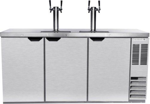 Beverage Air DD72HC-1-S Two Double Tap Kegerator Beer Dispenser - Stainless Steel, 28.4 cu. ft.. Capacity, 5 Amps, 60 Hertz, 1 Phase, 115 Voltage, Swing Door Style, 1/4 HP Horsepower, 3 Number of Doors, 3 Number of Kegs, 4 Taps, 1/2 Barrel Style, Narrow Nominal Depth, 3