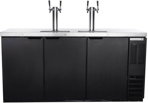 Beverage Air DD72HC-1-B Two Double Tap Kegerator Beer Dispenser - Black, 28.4 cu. ft.. Capacity, 5 Amps, 60 Hertz, 1 Phase, 115 Voltage, Swing Door Style, 1/4 HP Horsepower, 3 Number of Doors, 3 Number of Kegs, 4 Taps, 1/2 Barrel Style, Narrow Nominal Depth, 3