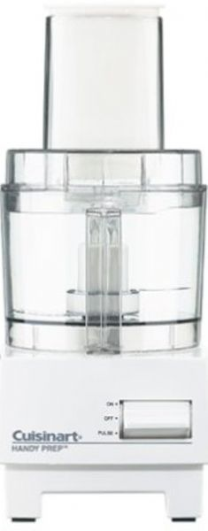 Cuisinart DFP-3 Handy Prep 3-Cup Food Processor, 3-cup Work Bowl, Unlimited slicing/shredding capacity, Stainless steel chopping blade, slicing and shredding discs, Chute attachment for continuous slicing and shredding, Ejector disc, On/Off/Pulse Functions, Instruction/Recipe book, UPC 086279004413 (DFP3 DFP-3 DFP 3)