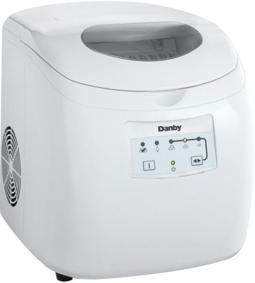 Danby DIM2500WDB Countertop Ice Maker, 25 Lbs. Daily Ice Production, 2 Lbs. Ice Storage, Manual Defrost, Self Clean Function, Manual Drain, 15 Amps, 120 Volts, Lid with see through window, Features a white ice scoop, UPC 067638906500, White Finish (DIM2500WDB DIM2500WDB DIM2500WDB)