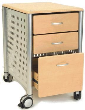 Innovex DL KM02 4983 Three Drawer Mobile File Cabinet In Maple, Powder  Coated Steel Frame, 3 Storage Drawers, 4 Large Wheels With Locks, Steel  Frames, ...