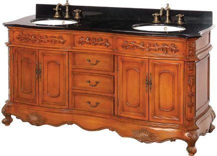 Dreamline DLVBJ-002AO Antique Bathroom Vanity, Solid Antique Oak birch wood  cabinet frame and legs, Antique Cherry Cabinet Color, 0.75