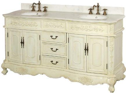 Dreamline DLVBJ-002AW Antique Bathroom Vanity, Solid Antique White birch  wood cabinet frame and legs, Antique Cherry Cabinet Color, ... - Dreamline DLVBJ-002AW Antique Bathroom Vanity, Solid Antique White