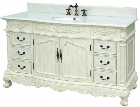 Antique White Bathroom Vanity on Dreamline Dlvbj 017 Aw Antique White Bathroom Vanity Set  Solid Wood