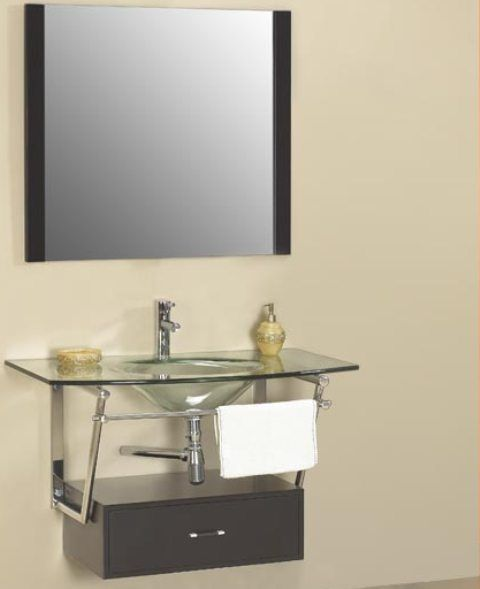 Dreamline Dlvg 108 Bk Modern Bathroom Glass Vanity Cabinet Black 5 8 Inch Tempered Glass