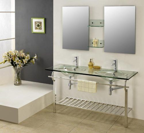 Dreamline DLVG 205 Modern Bathroom Glass Vanity Set, Wall Mount Design With  3/4 Inch Thick Tempered Clear Glass Countertop And Two Base Leg Supports,  ...