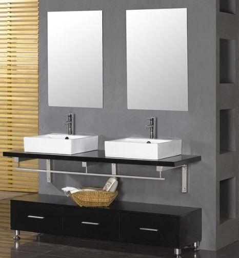 dreamline dlvrb 207 bk eurodesign bathroom vanity with set of 2 basins black two white square. Black Bedroom Furniture Sets. Home Design Ideas