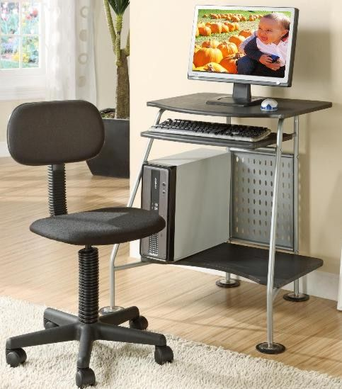 innovex doe01w29 computer desk and student chair printer shelf casters provide easy mobility compact ergonomic design desk and chair combination