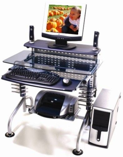 Innovex Dp004g90 Leda Desk Collection Computer Desk Blue Glass