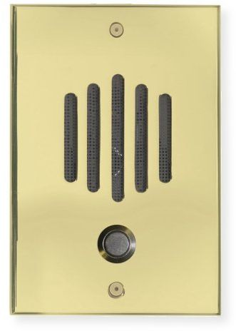 "Channel Vision DP-0222 DP Series Intercom System; Polished Brass; Designed to match popular lock and door hardware; Integrates a weather resistant speaker and microphone, doorbell button, and wall plate into one entry unit; 0.25"" thick solid brass plate; Discrete speaker and microphone; UPC 690240014709 (DP0222 DP-0222 DP-0222-INTERCOM CVDP-0222 DP-0222-CV DP-0222-CHANNELVISION)"