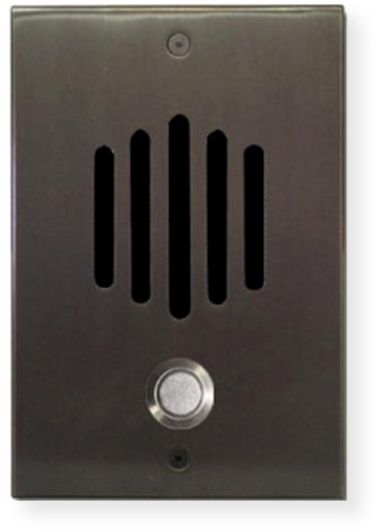 "Channel Vision DP-0252 DP Series Intercom System; Oil Rubbed Bronze; Designed to match popular lock and door hardware; Integrates a weather resistant speaker and microphone, doorbell button, and wall plate into one entry unit; 0.25"" thick solid brass plate; Discrete speaker and microphone; UPC 690240015065 (DP0252P DP-0252 DP-0252-INTERCOM CVDP-0252 DP-0252-CV DP-0252-CHANNELVISION)"