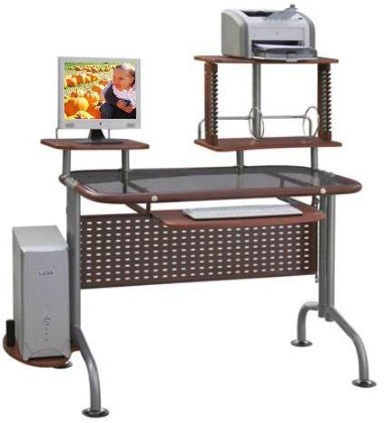 Innovex Leda Dp077g99 Brown Glass Computer Desk With Printer Shelf