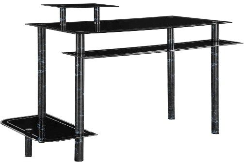 Innovex DP1032GBM Computer Desk, Black Marble, Ergonomic Design, Tempered Glass  Table Top, CPU And Printer Shelves, Easy And Ready To Assemble, ...